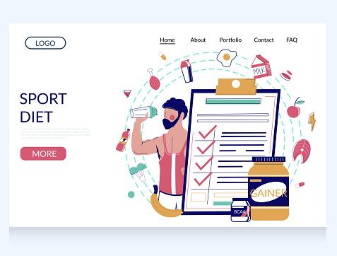 Sport diet vector website landing page design template