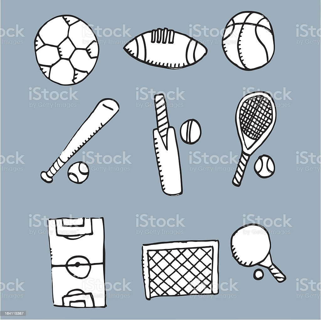 Sport doodle icons royalty-free stock vector art