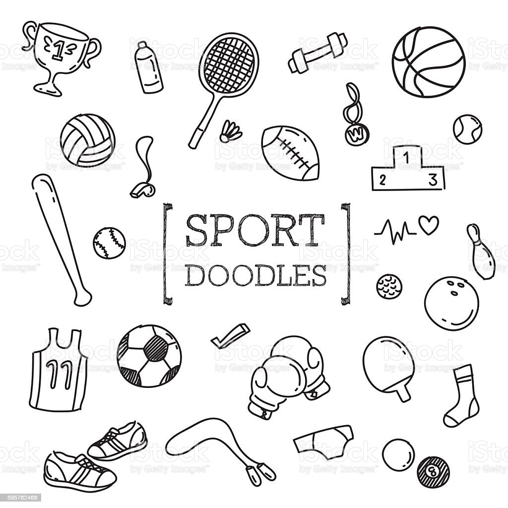 Sport doodles set vector art illustration