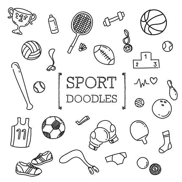 ilustraciones, imágenes clip art, dibujos animados e iconos de stock de sport doodles set - boxeo deporte