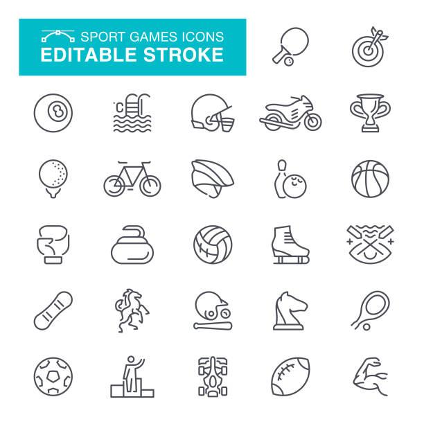 ilustraciones, imágenes clip art, dibujos animados e iconos de stock de iconos de movimiento editables de deporte - íconos deportivos