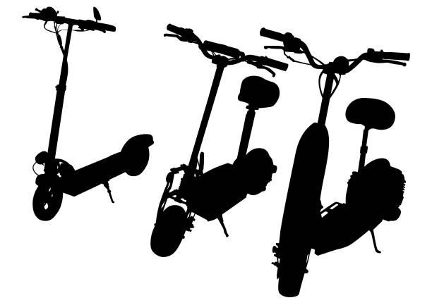 illustrazioni stock, clip art, cartoni animati e icone di tendenza di sport electric scooter - monopattino elettrico