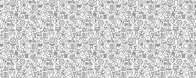 Sport Elements Seamless Pattern and Background with Line Icons