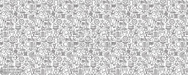 istock Sport Elements Seamless Pattern and Background with Line Icons 1201853534