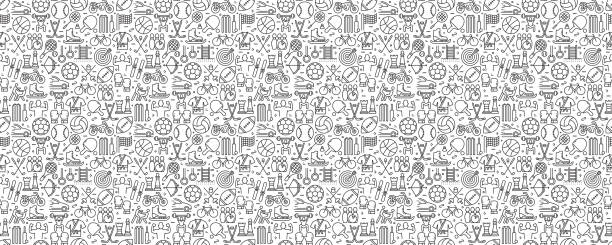 Sport Elements Seamless Pattern and Background with Line Icons Sport Elements Seamless Pattern and Background with Line Icons sports stock illustrations