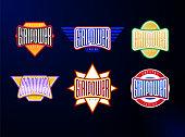 Sport emblem typography set. Super girl power hero ogotype sticker for your t-shirt. Mega collection