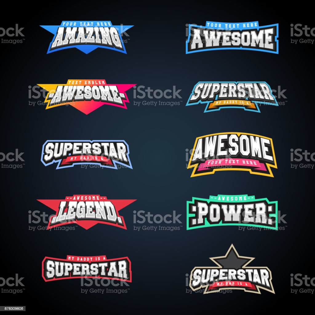 Sport emblem typography set. Super icon for your t-shirt. Mega icontype collection royalty-free sport emblem typography set super icon for your tshirt mega icontype collection stock illustration - download image now