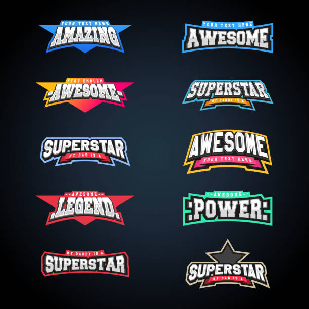 Sport emblem typography set. Super icon for your t-shirt. Mega icontype collection vector art illustration