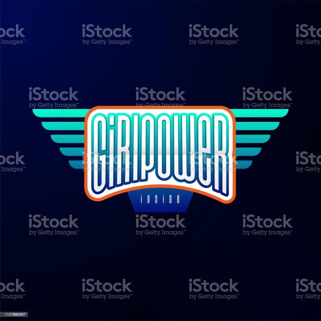 Typographie De Sport Emblème Autocollant De Logo Héros Fille