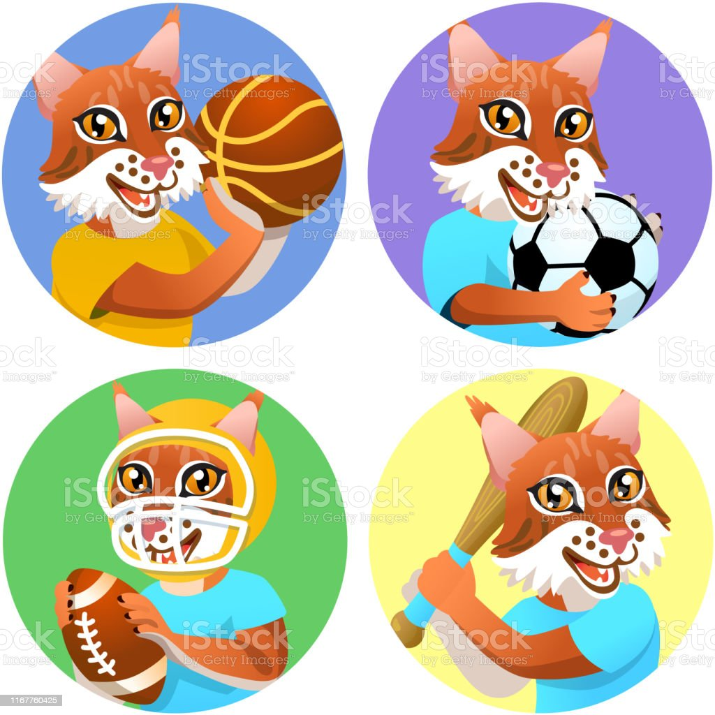 Four circle colorful sport emblems on the white background for...