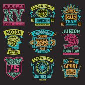 Sport emblems graphic design for t-shirt