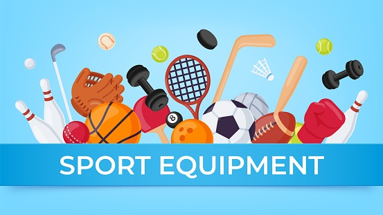 Sport equipment banner. Ball games and fitness items for rugby, badminton, soccer and basketball. Cartoon sports elements sale vector poster