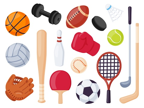 Sport equipment. Cartoon balls and gaming item for hockey, rugby, baseball and tennis racket. Bowling, boxing and golf flat icons vector set