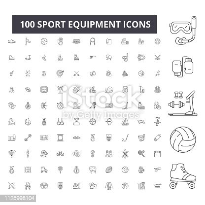 Sport equipment editable line icons, 100 vector set on white background. Sport equipment black outline illustrations, signs, symbols