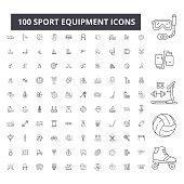 Sport equipment editable line icons, 100 vector set, collection. Sport equipment black outline illustrations, signs, symbols