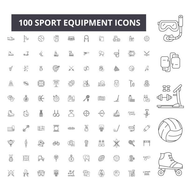 sport ausrüstung bearbeitbaren zeile symbole, vektor-100 reihe, sammlung. sport ausrüstung schwarzen umriss illustrationen, schilder, symbole - sport stock-grafiken, -clipart, -cartoons und -symbole