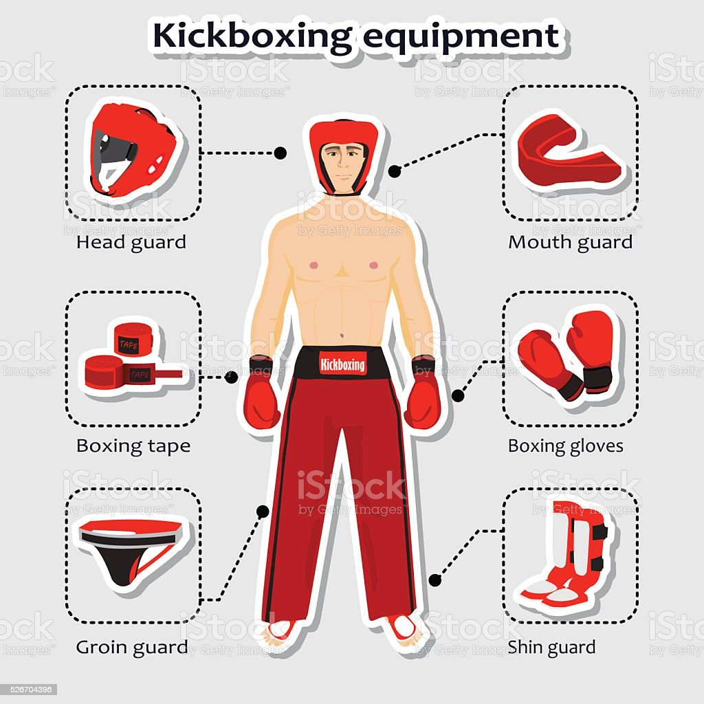 Sport equipment for kickboxing martial arts with sportsman in the...