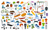 sport equipment, gear, clothes graphic set