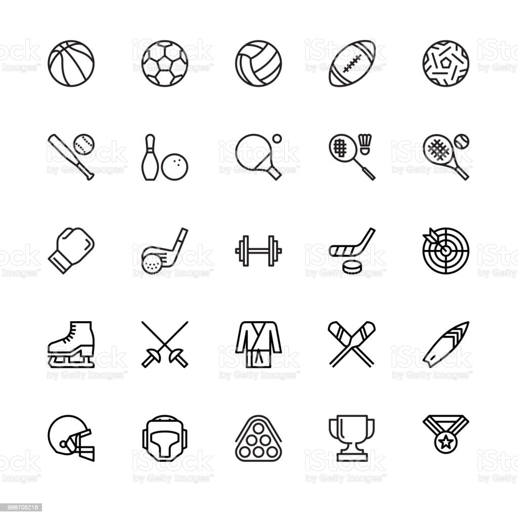Sport Equipment Icons vector art illustration