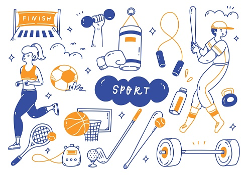 sport equipment in doodle line art vector illustration