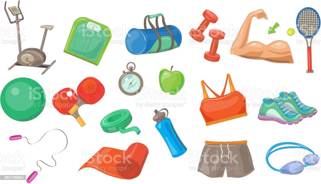 Sport equipment set, sports inventory vector Illustrations on a white background royalty-free sport equipment set sports inventory vector illustrations on a white background stock vector art & more images of bottle