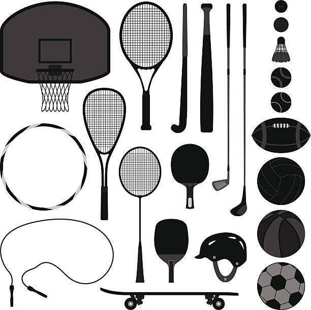 Sport Equipment Tool A set of sport equipment which include basketball, tennis, badminton, table tennis, baseball, volleyball, soccer, football, and golf. racket stock illustrations