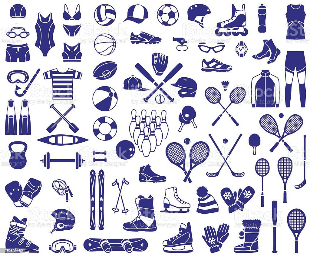 Sport equipment vector art illustration