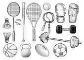 Sport equipments illustration, drawing, engraving, ink, line art, vector