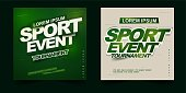sport event tournament poster or banner design theme with simple layout elegant green gradient background and balance composition