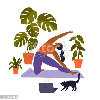 istock Sport exercise at home. Woman doing workout indoor. Yoga and fitness, healthy lifestyle. Flat vector illustration. 1217890863