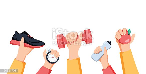 istock Sport exercise web banner. Time to fitness and workout concept. Idea of active and healthy lifestyle. Sport hands 1203217061