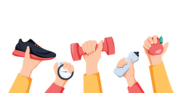 Sport exercise web banner. Time to fitness and workout concept. Idea of active and healthy lifestyle. Sport hands