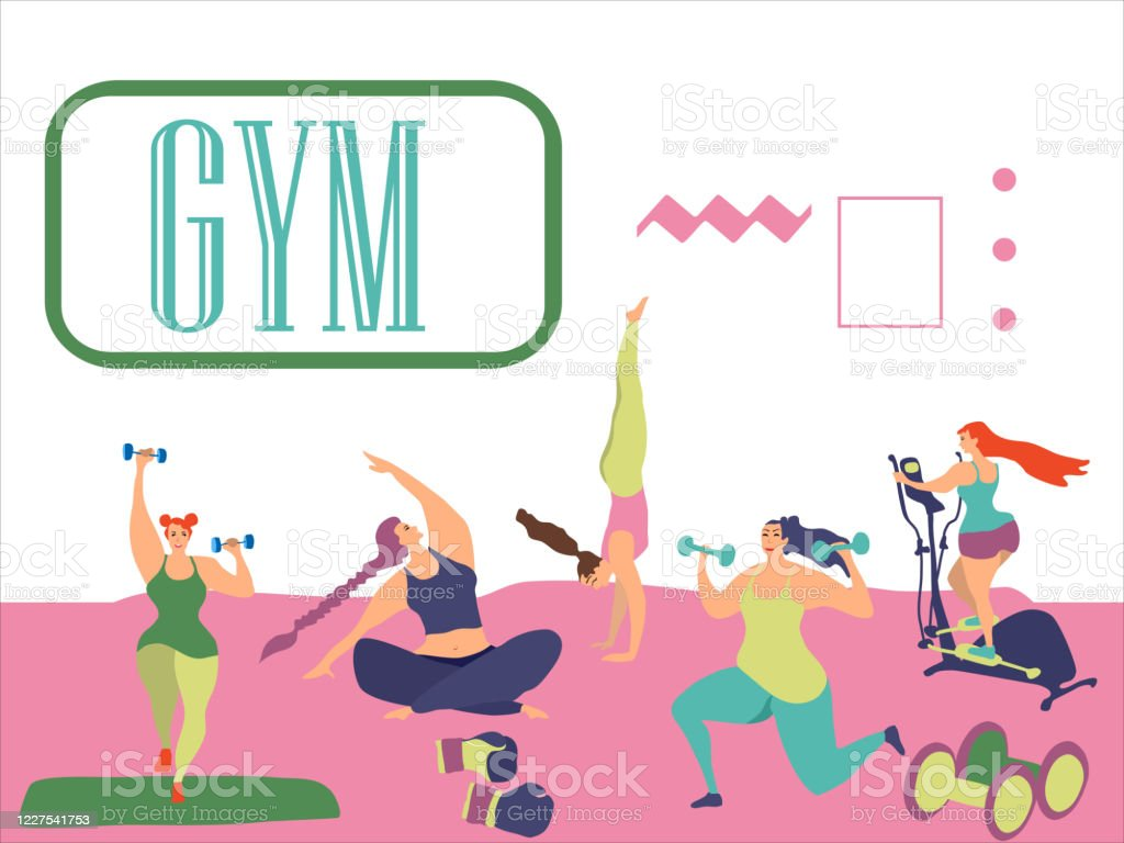 Sport Exercises And Yoga Set Cute Funky Girls Training Stock Illustration Download Image Now Istock