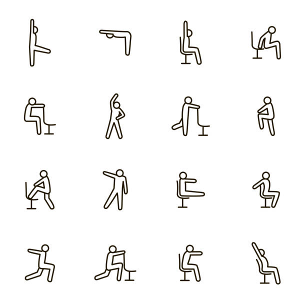 ilustrações de stock, clip art, desenhos animados e ícones de sport exercises for office signs black thin line icon set. vector - chair