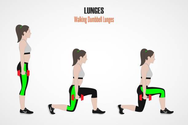 Sportliche Übungen. Zu Fuß Hantel Ausfallschritte – Vektorgrafik