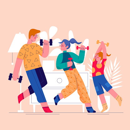Sport family home exercising flat vector illustration