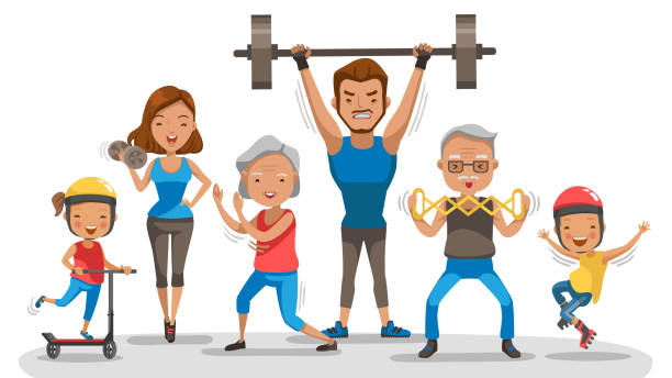 Sport Family vector art illustration