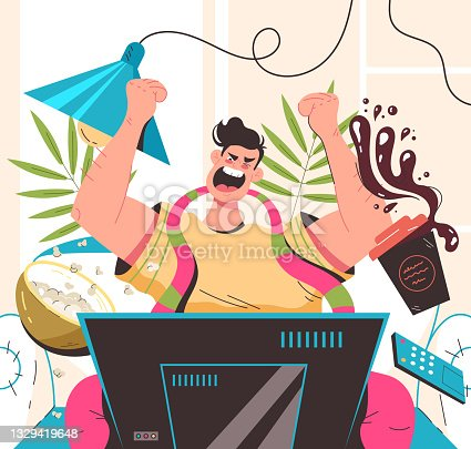 istock Sport fan man character sitting in front of TV and screaming supporting favourite team. Vector flat modern style graphic illustration 1329419648