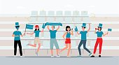 istock Sport fans cheers their team on sport competition, flat vector illustration. 1269235980