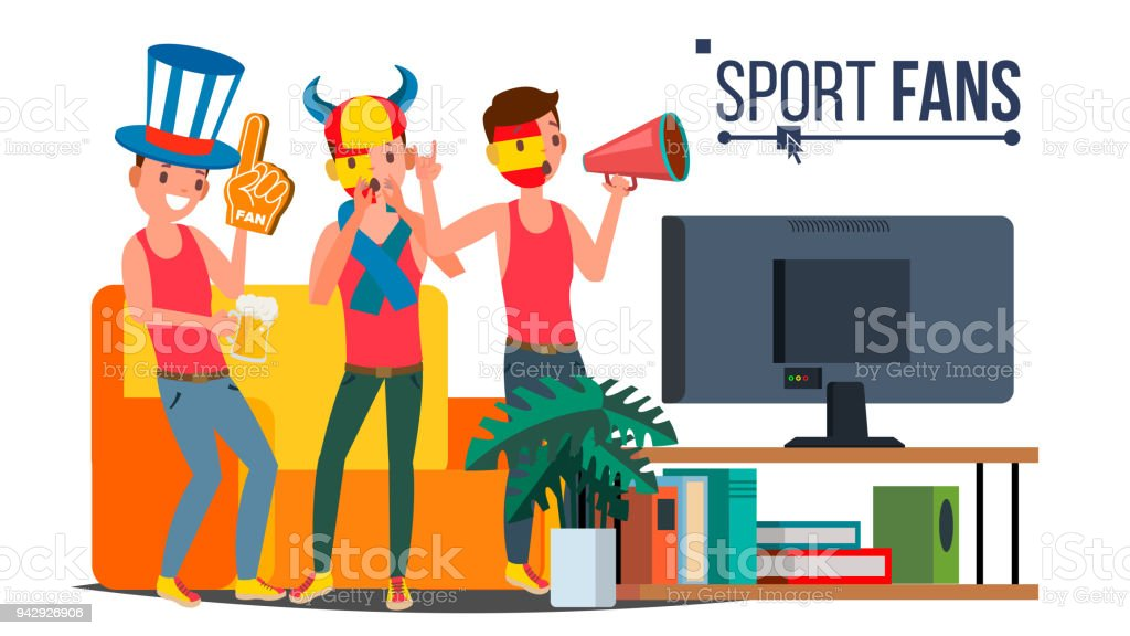 Sport Fans Group Vector Cheering For The Sport Team Watching Game Match On Tv Isolated Flat Cartoon Illustration Stock Illustration Download Image Now Istock
