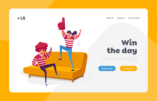 Sport Fans Weekend Leisure Landing Page Template. Home Fun Party, Friends Characters Company Spending Time Watching Football on Tv. Spare Time, Friendship Relations. Cartoon People Vector Illustration
