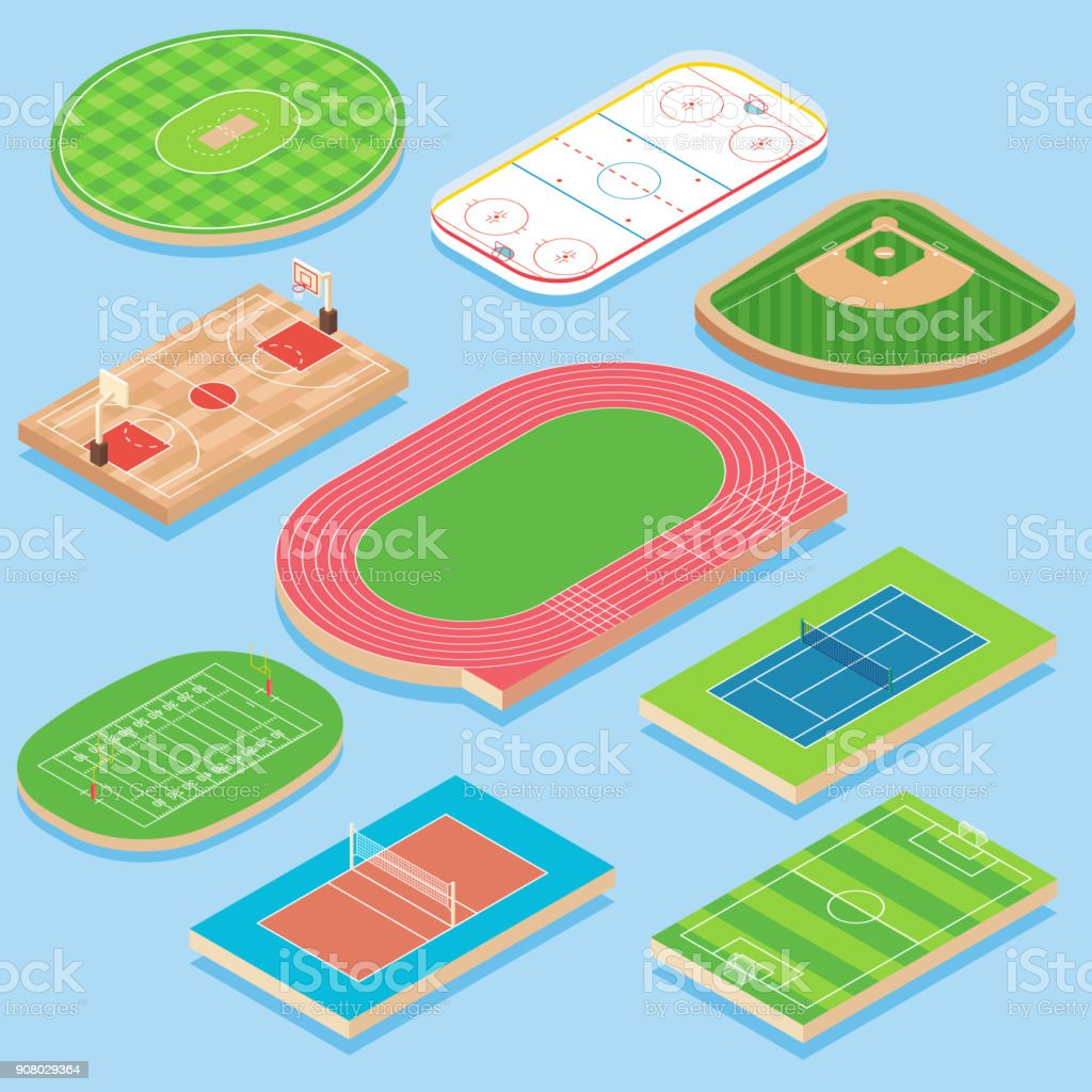 Sport field vector flat isometric icon set vector art illustration