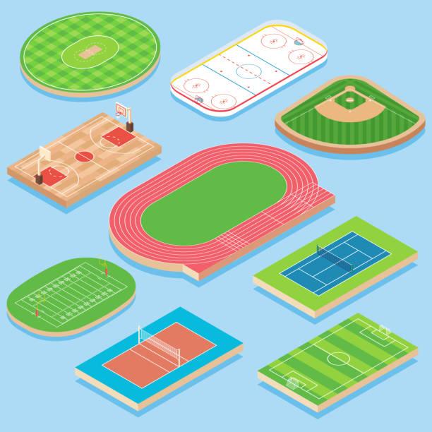 運動場向量平面等距圖示集向量藝術插圖
