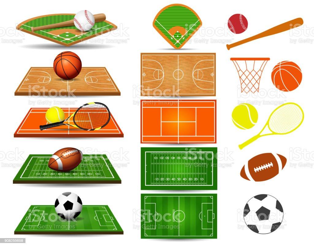 Sport fields, balls and design elements vector art illustration