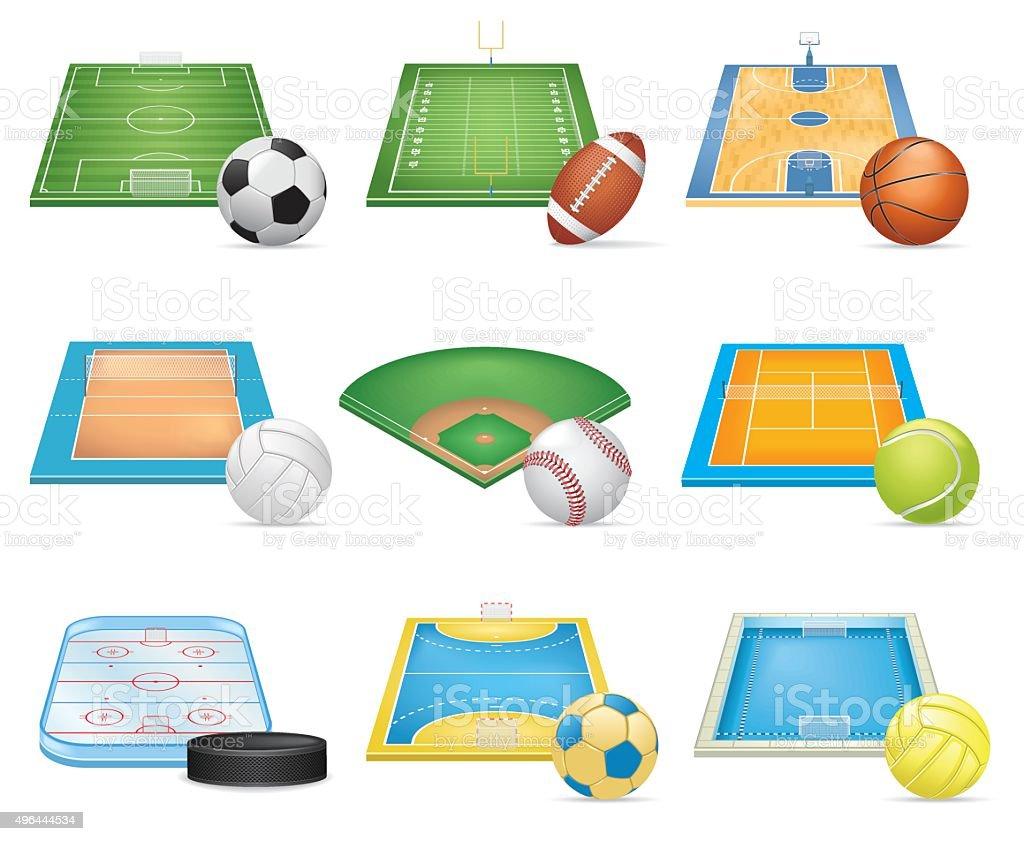 Sport Fields Icons Set vector art illustration
