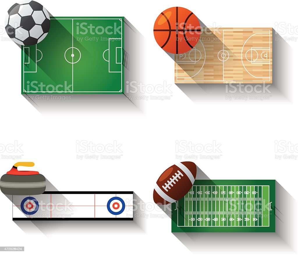 Sport fields illustration icons set vector art illustration