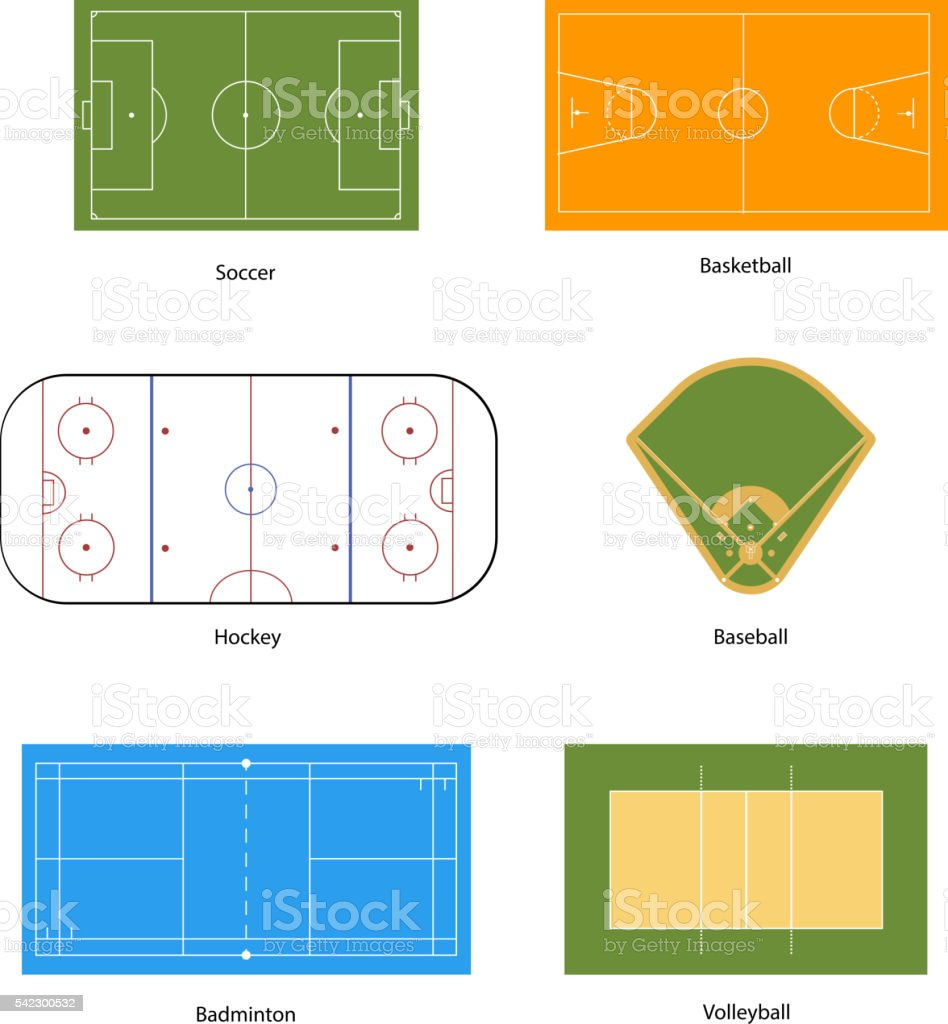 Sport fields marking, isolated on white vector art illustration