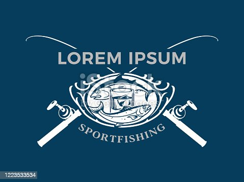 Sport Fishing club emblem concept with fishes around cold drink and crossed rods - cut out vector badge