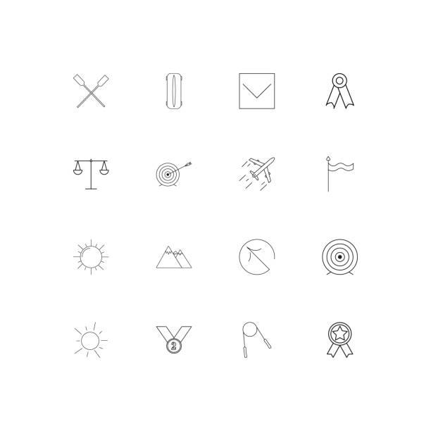ilustrações, clipart, desenhos animados e ícones de conjunto de ícones fina linear esporte fitness e recreação. delineado icons vector simples - segundo grau