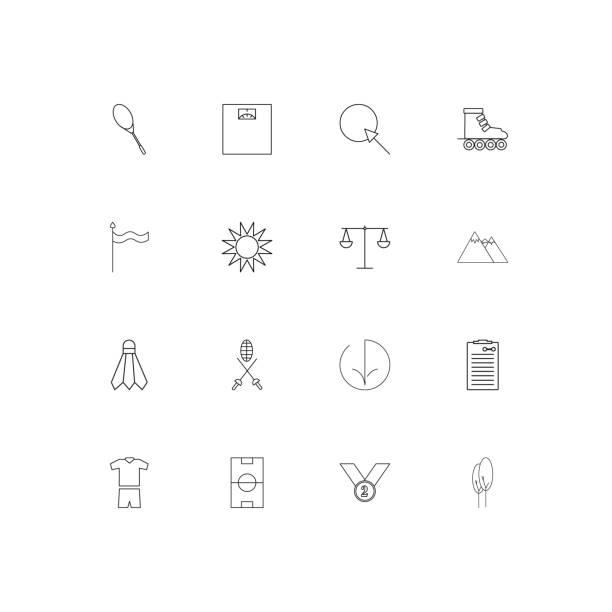 ilustrações, clipart, desenhos animados e ícones de conjunto de ícones simples linear do esporte fitness e recreação. icons vector esboçado - segundo grau